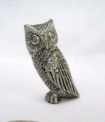 Vintage Pewter Barn Owl Figurine Cute Animal Miniature Bird Handmade Art Crafted