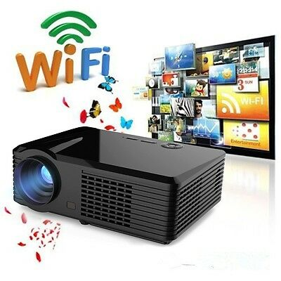 5000 Lumens 3D 1080P WIFI HD LED Digital Projector HDMI TV Home Video Theater 4P