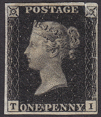 Great Britain 1840 Penny Black SG2 MINT - 4 margins - with faults.