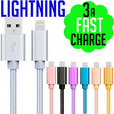Apple iPhone 7✓6✓6s Plus✓ 3a USB to Lightning Charging Cable Woven Fast Charge