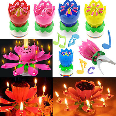 Birthday Candle Musical Rotating Blossom Lotus Flower Magic Cake Topper Romantic