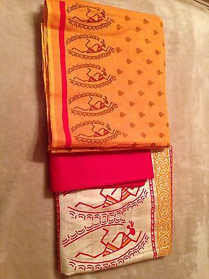 Orange and Red cotton suit piece suit with dupatta