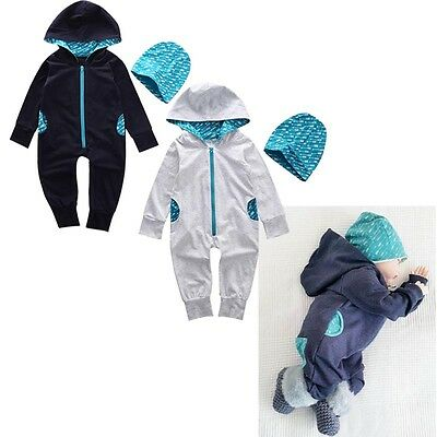2Pcs Newborn Kids Baby Boys Girl Outfits Jumpsuit Romper Bodysuit Hooded Clothes