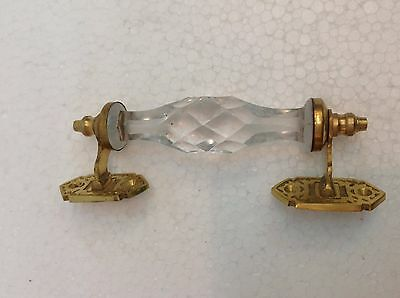 Vintage White Handcrafted Glass & Brass Fitting Door Knob Pull Handle Drawer