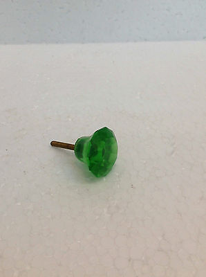 Vintage Handcrafted Green Round Single Glass Door Knob Handle Drawer Pulls