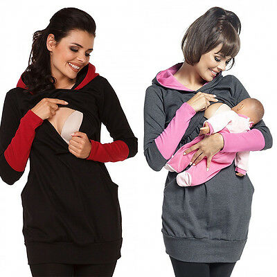 Breastfeeding Hoodie Pregnant Women Stripe Nursing Top Maternity Shirts Jumper