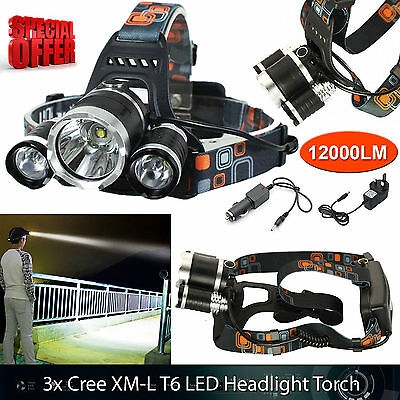 Waterproof Powerful 6000LM LED 3x XM-L Headlight Torch Rechargeable T6 Headlamp