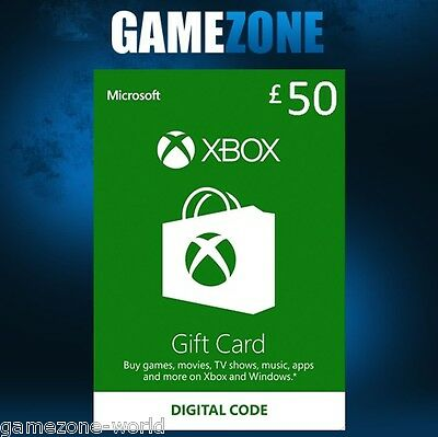 Microsoft Xbox Live £50 Gift Card Points Pounds For Xbox 360 / Xbox One
