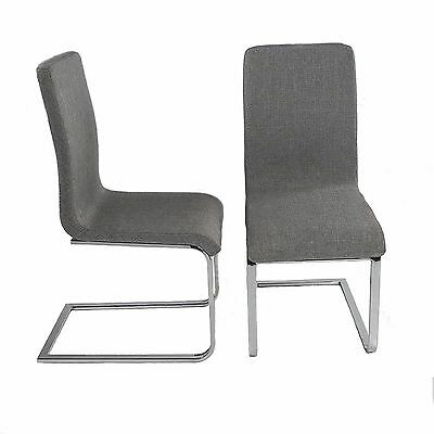 Lounge Kitchen Dining/Office Grey Fabric Chairs w/ Chrome Legs 2x Charles Jacobs