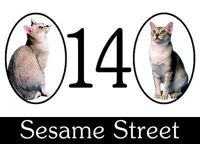 Wheelie Bin Stickers x 2 .A5 size Two Cats Design. Road/street House Number.