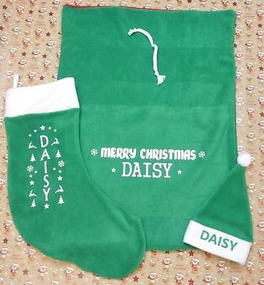* PERSONALISED * Christmas Childrens / Babies Bundle - Stocking / Hat & sack