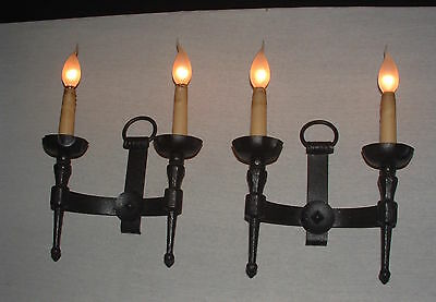 Vintage French wrought iron sconces Gothic Medieval style nice