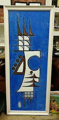 Vintage Large Hand Painted Original Abstract Art Piece Frame Wall Hanging
