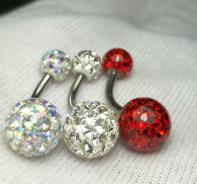 Belly Button Ring Ferido Crystal Balls 9mm & 6mm Epoxy Coated 3Pieces/1Lot