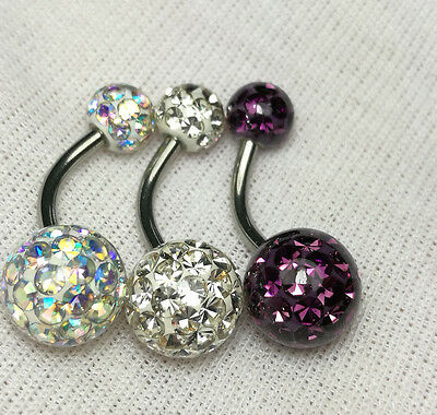 Belly Button Ring Ferido Crystal Balls Navel 9mm & 6mm Epoxy Coated 3Pieces/1Lot