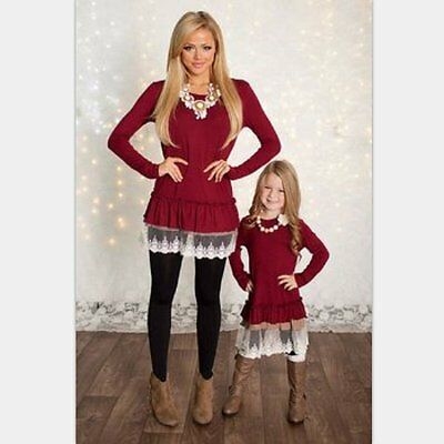 Mother Daughter Long Sleeve Dress Women Girls Lace Blouse Family Outfit Clothes