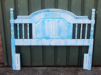 5ft Gorgeous vintage solid oak shabby chic painted headboard for king size beds