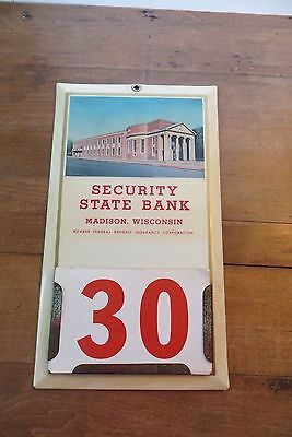 Security State Bank, Madison, Wisconsin metal calendar with changing numbers