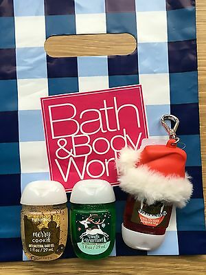 Bath & Bodyworks 3 Christmas Pocket Bac Anti-bacterial Hand Gel And Holder