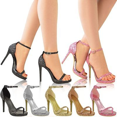 Womens Ladies Platform High Heels Ankle Strappy Glitter Party Sandals Shoes Size