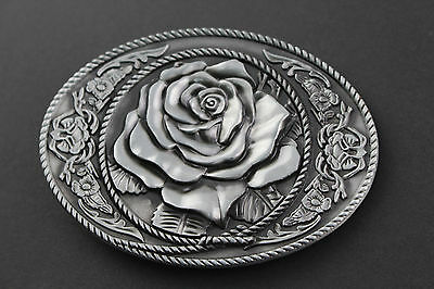 Rose Flower Belt Buckle Metal Oval Pattern Grey Black Cute