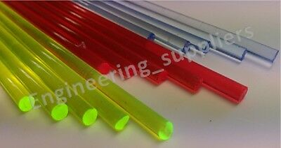 Round Coloured Acrylic Fluorescent Bar 3.2, 4.8, 6.4mm Dia 150 - 600mm long rods