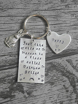 rabbit memorial keychain, rainbow bridge, bunny, memory chain, personalised