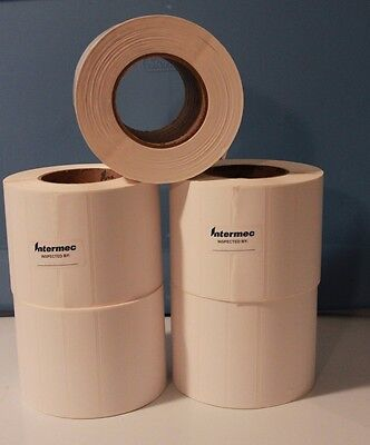 "Intermec Direct Thermal Transfer Paper 4""x1"" Barcode Sticker Labels 5 Rolls"