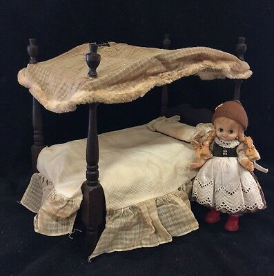 "Vintage Wood Canopy Poster Doll Bed 12"" Long Circa 1950's"