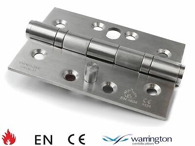 """FIRE RATED 4x3"""" Brushed Stainless Steel Ball Bearing Security Hinge EN1634"""