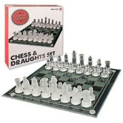 GLASS CHESS AND DRAUGHTS SET 25CM x 25CM GLOBAL GIZMOS BOARD GAME 81100