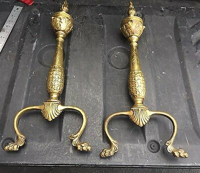 ANTIQUE BRASS ANDIRONS Vintage