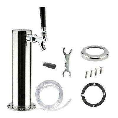 "3"" Chrome Draft Beer Tower 1 Tap Single Faucet for Keezer Kegerator - 12"" Tall"
