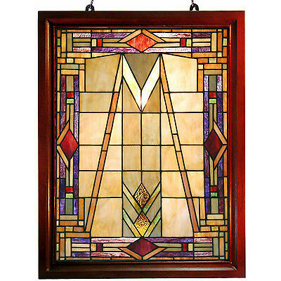 "Handcrafted Mission Tiffany Style Stained Glass Window Panel HF193 26""X20"""
