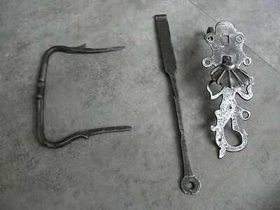 Antique Wrought Iron Sliding Bolt/Lock Plank Door ornate Latch Lock STEEL retro