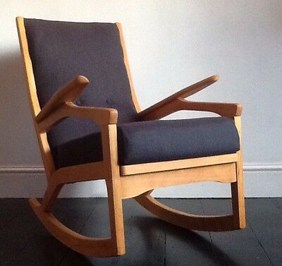 MID CENTURY ROCKING CHAIR wooden tweed fabric vintage retro 50s 60s Danish Inspd