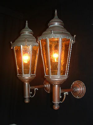 Vintage large French red copper lantern sconces with amber color glass
