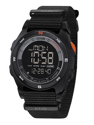 KHS Tactical Watch Sentinel Compass Alarm Chronograph Police Watch Date Light