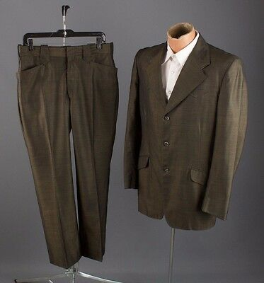 "Vtg 1974 Dated Mens Western Sharkskin Suit Jacket sz M Pants 33x29"" #1959"