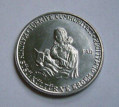 Turkey 1 Lira 1978, Mother breastfeeding child - F.A.O.