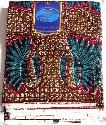 ISBN-120070 Cotton Wax Print by Real Supreme Holland 6 yards Width 46'' £69.99
