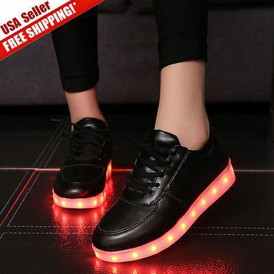 7 colors Casual Shoes LED Light Lace Up Sneakers Sportswear Luminous Unisex USA