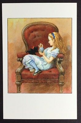 Alice In Wonderland POSTCARD Lewis Carroll JOHN TENNIEL Kitten CAT Wool AW29