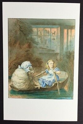 Alice In Wonderland POSTCARD Lewis Carroll JOHN TENNIEL Rowing Boat SHEEP AW32