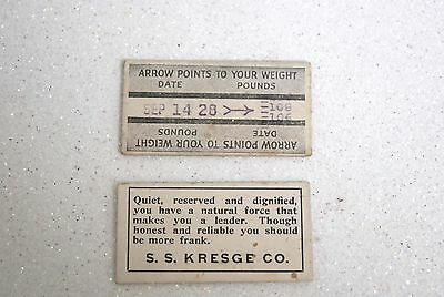 Two 1928-33 Kresge Fortune Weight Tickets