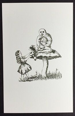 Alice In Wonderland POSTCARD Lewis Carroll CATERPILLAR Mushroom AW37