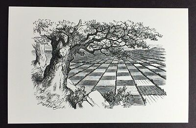 Alice In Wonderland POSTCARD Lewis Carroll JOHN TENNIEL Chess Board TREE AW41