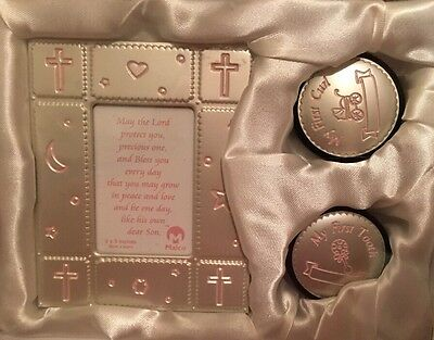 Baby Girl First Frame, First Curl, First Tooth Gift Keepsake Set Malco Pink NEW