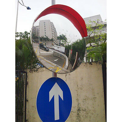 Wide Angle Convex Road Mirror 80 cm Traffic Safety Visor+ Bracket Indoor Outdoor