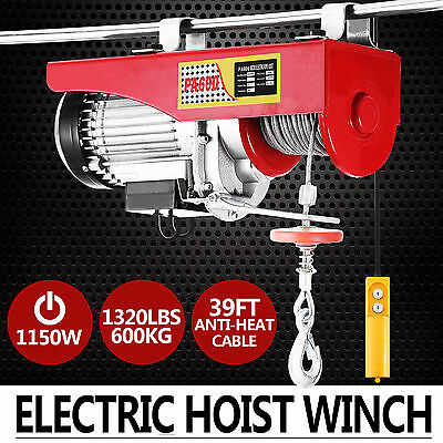 Electric Hoist Winch 600KG 240V Cable Lift Tool Remote Chain Lifting Rope Auto a